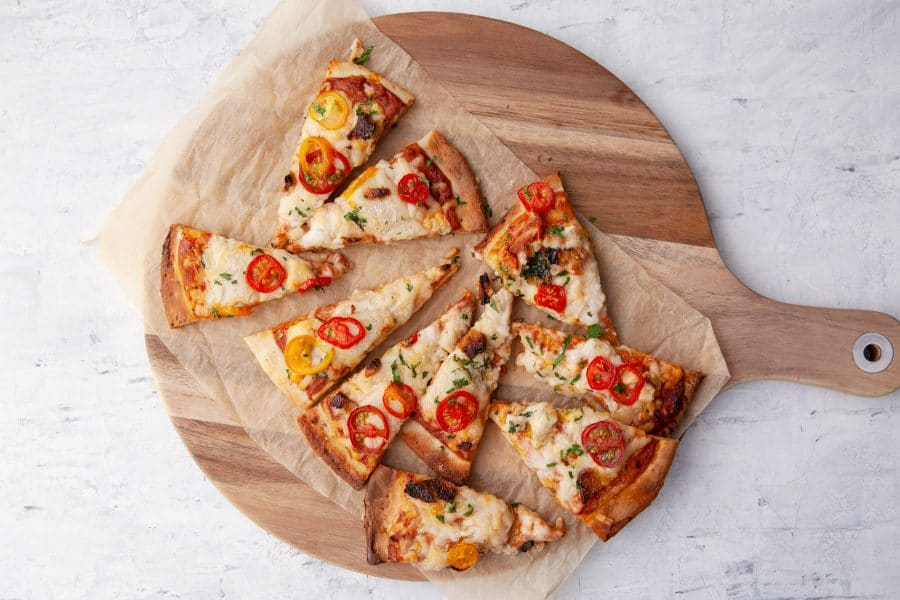 Gluten-free Three Cheese Pizza | an extra-cheesy dairy-free take on classic Margherita