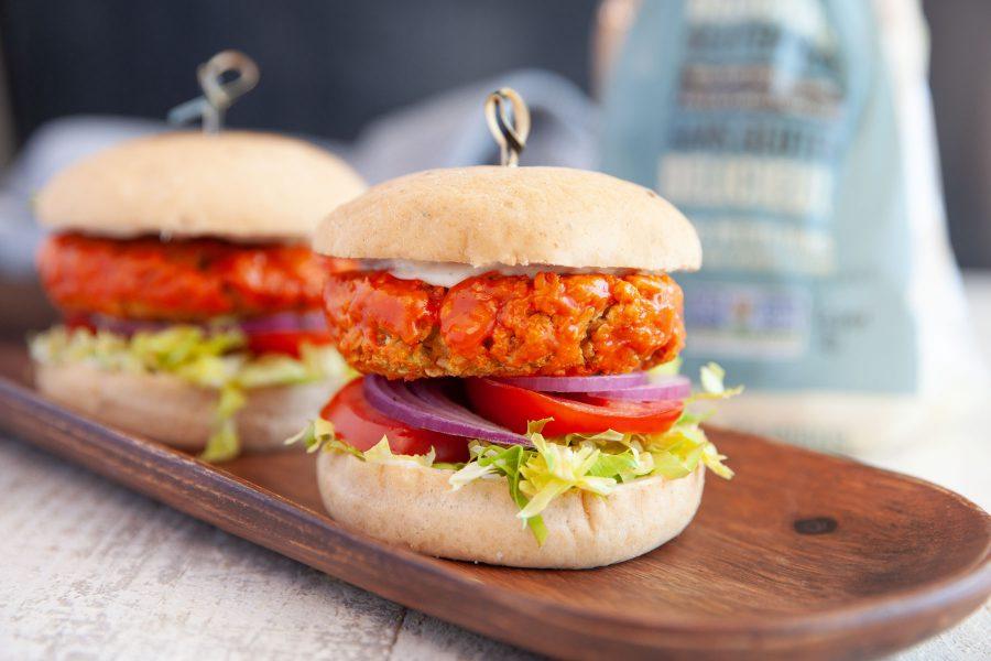 Buffalo style gluten-free chickpea burger recipe (Plant-based)