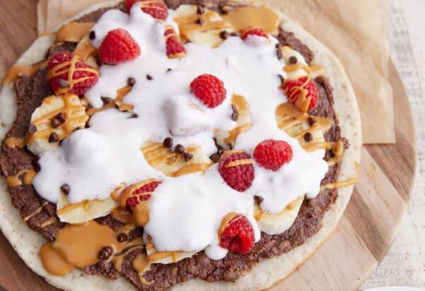 Gluten-free Dessert Pizza with Chocolate Sunflower Spread & Banana Berry Topping | Vegan, Nut-free, Peanut-free