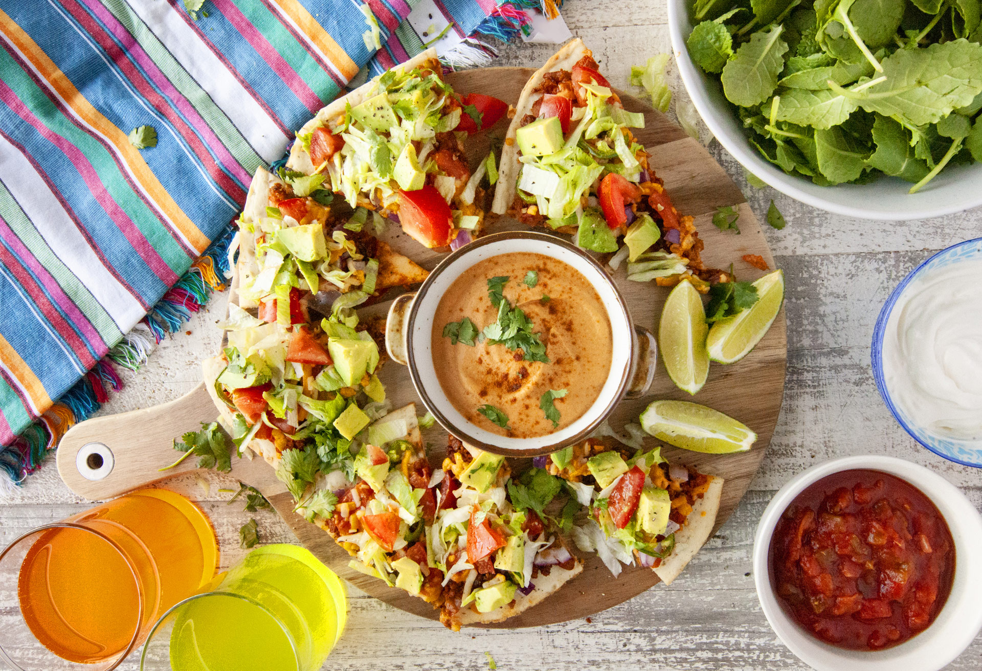 Recipe: Gluten-free Nacho Pizza with Nut-free Vegan Queso on Little Northern Bakehouse Artisan Style Gluten Free Pizza Crust