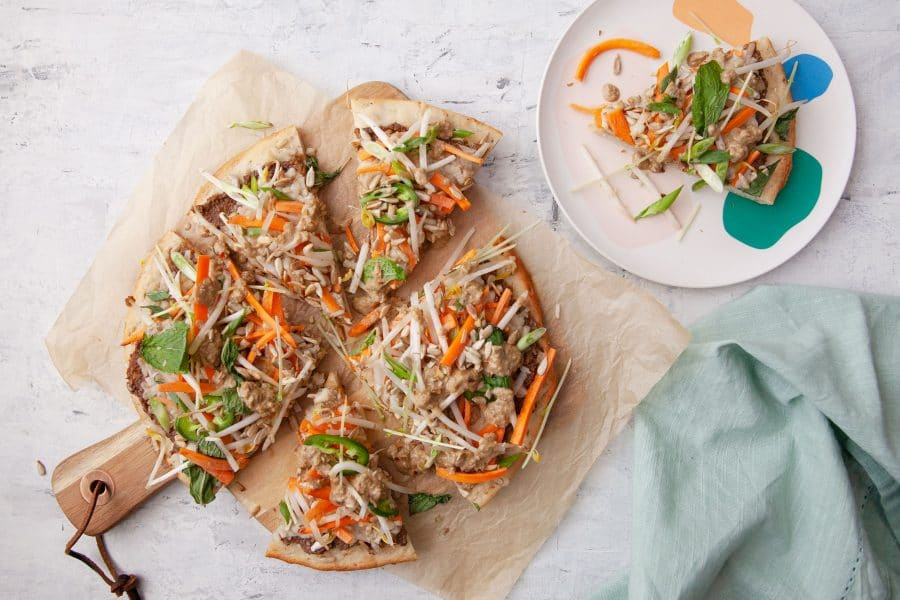 Gluten-free Recipe: Savoury Thai Pizza with Fresh Herbs and Crunchy Veggie Topping